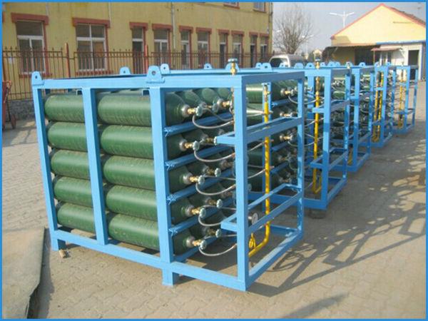 High Pressure Bottle Rack : Gas cylinder bundle for oxygen argon nitrogen