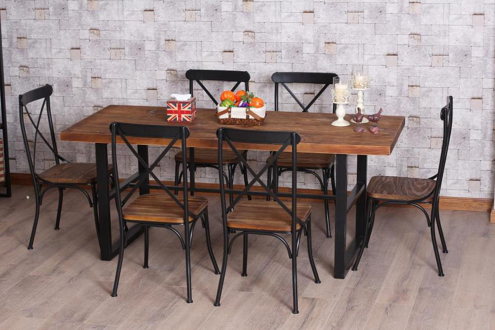 American Retro Dinette Combination Of Wood Wrought Iron Dining Table