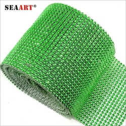 Crystal Green Rhinestone Net Mesh Ribbon Trimming For Garments