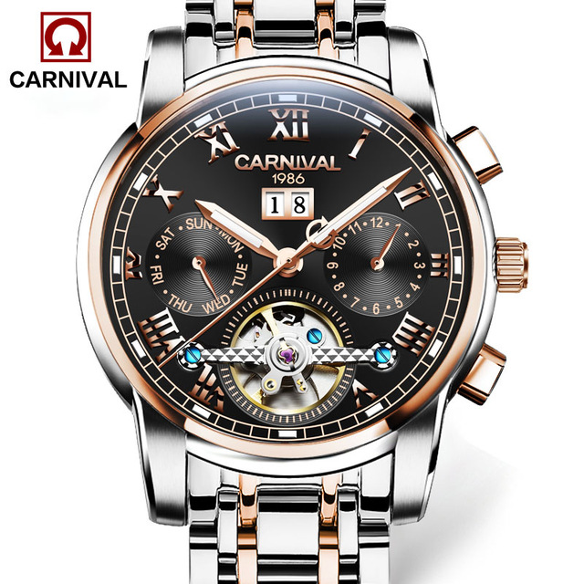 Machinical Wristwatch Carnival Watch 8759 with Rose Silver Bezel, Brown Dial, Rose Silver Stainless Steel Bracelet for Man