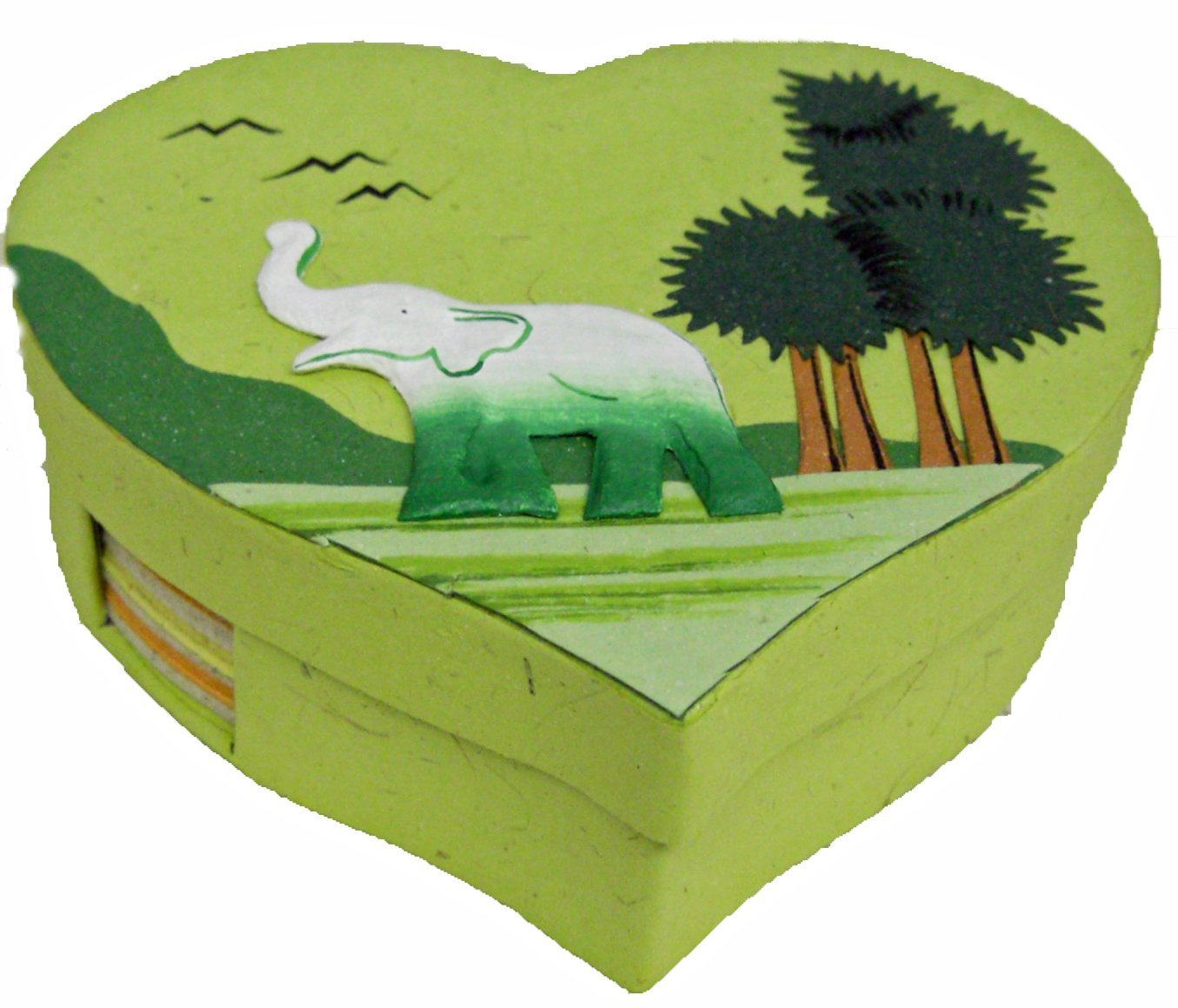 Mr. Ellie Pooh Light Green Heart Shaped Note Box with Notes (160-855301003805)
