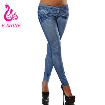 2f8498dc7a658 2016 Winter Pocket Folds Women Boots Jean Print Women Denim Leggings Plus  Size Leggins Elastic Fashion
