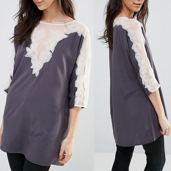 Latest Fashion Long Top Design Ladies Tunic Top Wholesale