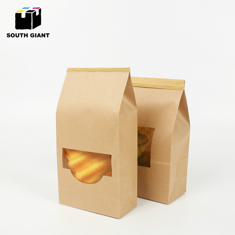 Kraft Paper Tin Tie Bag with Window for Snack