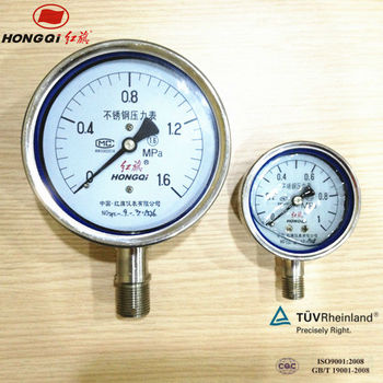 Y100BF all 316 stainless steel Oil glycerin filled pressure gauge manometer