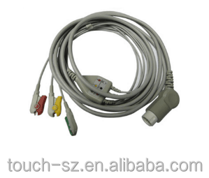 3 5mm 4 pole male 3 lead wire ecg cable with pincher medic audio connector