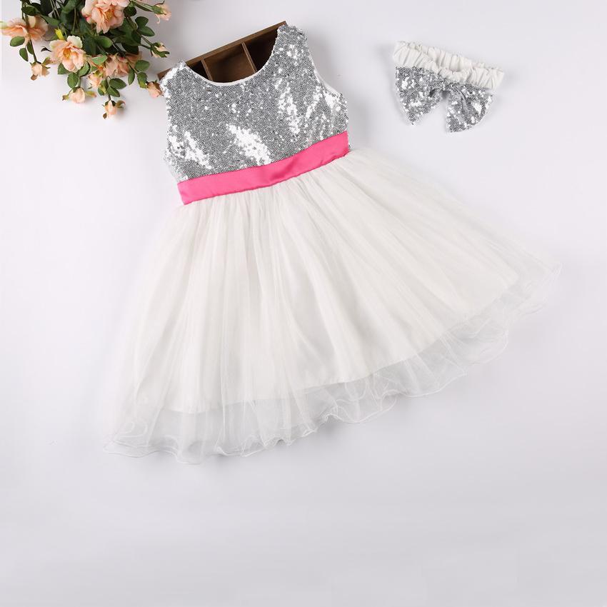 Taufe Geburtstag Baby Kleider Für 1 5 Jahre Kleinkind Kleidung Pailletten Sommer Ballkleid Bowknot Kleider Mit Stirnband Für Mädchen Buy Baby