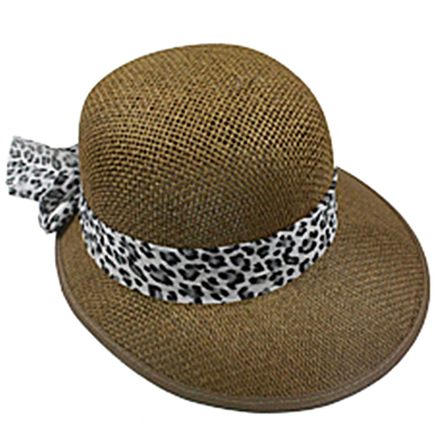 Silver Fever Women Summer Fancy Sun Hat Fits All (Brown with Cheetah)