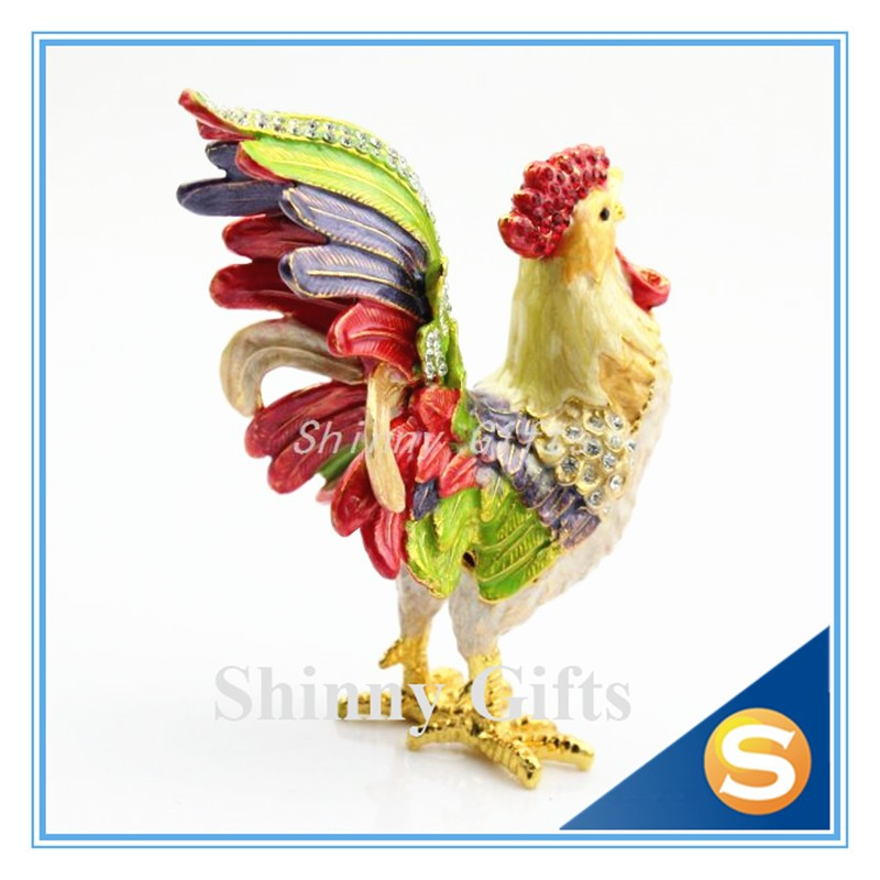Metal Pewter Rooster Shape Jeweled Enamel Trinket Box