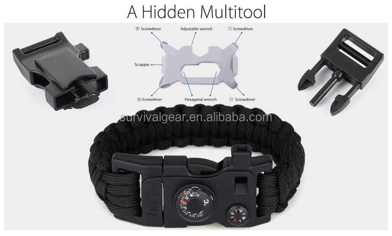 Hot Sell Outdoor Survival Gear Escape Paracord Bracelet with Flint/Whistle/Compass/Scraper/Themometer