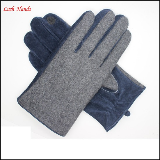 Wholesale price of sheep wool and material synthesis index finger touch screen mens gloves