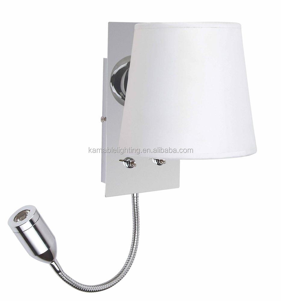 White Fabric Shade Bedside Hotel Wall Light/wall Lamp With Outlet ...