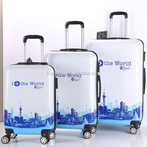 i the fly world printed suitcase set 3 piece Spinner Hard case luggage 3 in 1 PC luggage set