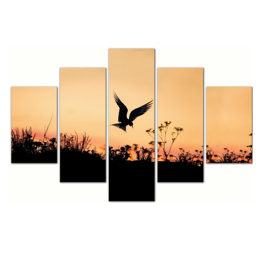 5 Pieces Flying Bird Paintings Wall Art Sunset Natural Landscape <strong>Picture</strong> Printed on Canvas for Wall Decor