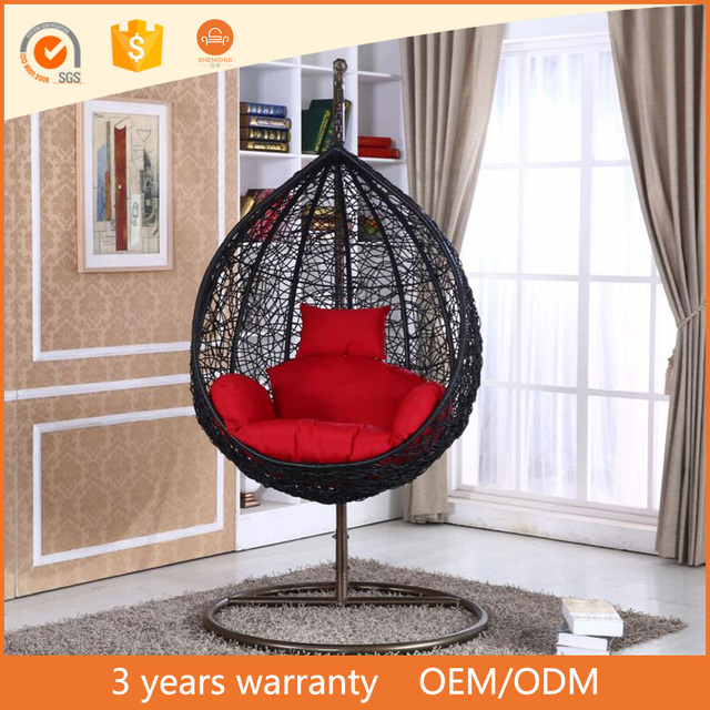 Modern Style PE Rattan Bird Nest Balcony Outdoor Wicker Hanging Swing Chair