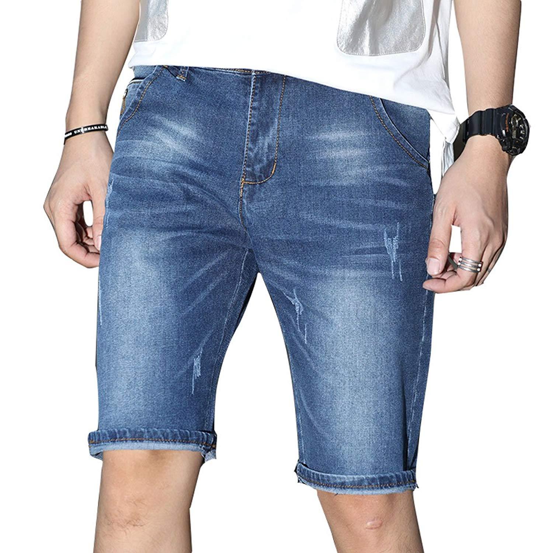 cb9e1b5eaf Get Quotations · Plaid&Plain Men's Denim Shorts Slim Fit Ripped Jean Shorts