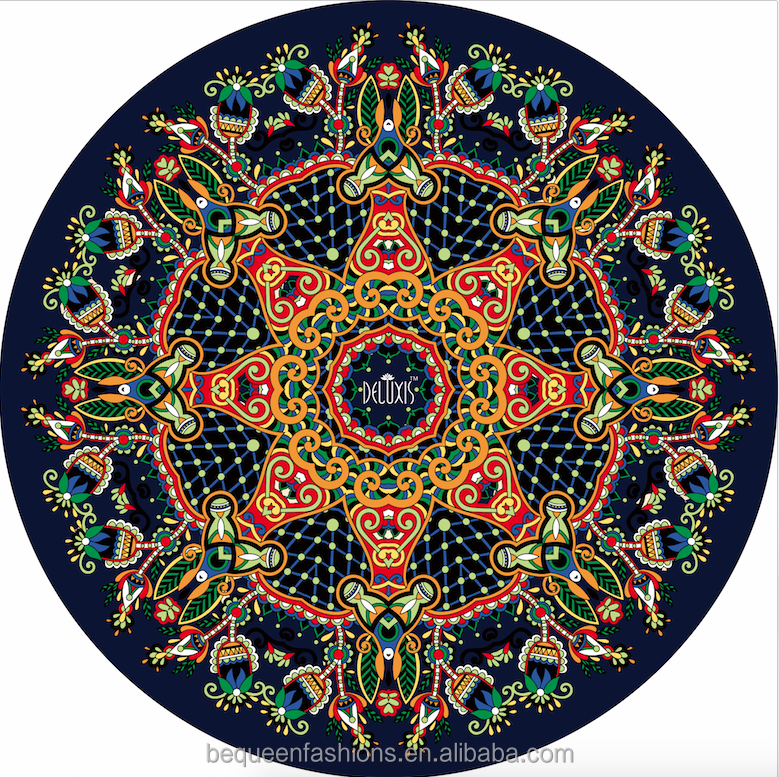 Fashion design custom printed natural rubber round yoga mat for beach travel exercise