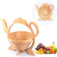 Teapot shape food grade wooden bamboo folding fruit basket