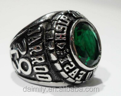Stainless Steel Custom 2012 High School Anniversary Rings Emerald Stone set for gift