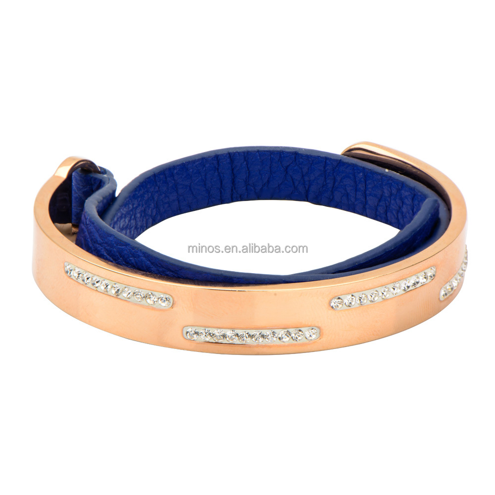 Women's Blue Leather and IP Rose Gold White Crystal Bracelet