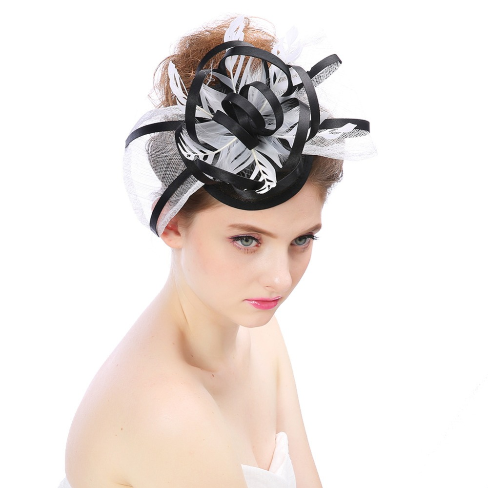 Women's Church Kentucky Derby Fascinator Bridal Party Wedding Hat,elegant sinamay hat with bow tie