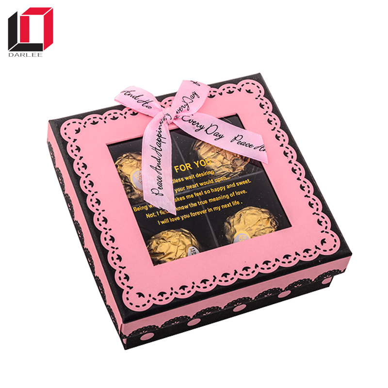 Latest design 4 pieces square chocolate package box with clear window