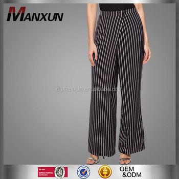 a1693d89fd2 High quality korean clothes black white stripe plus size palazzo pants