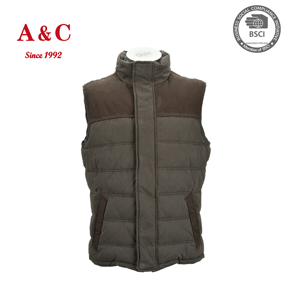 Cheap Mens Brown Warmed Cotton Vest Jacket
