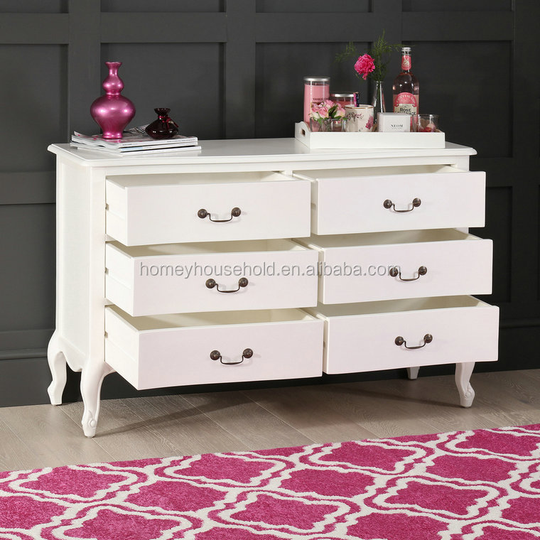 Home Cabinet French Style White Painted 6 Drawer Wide Chest of Drawers