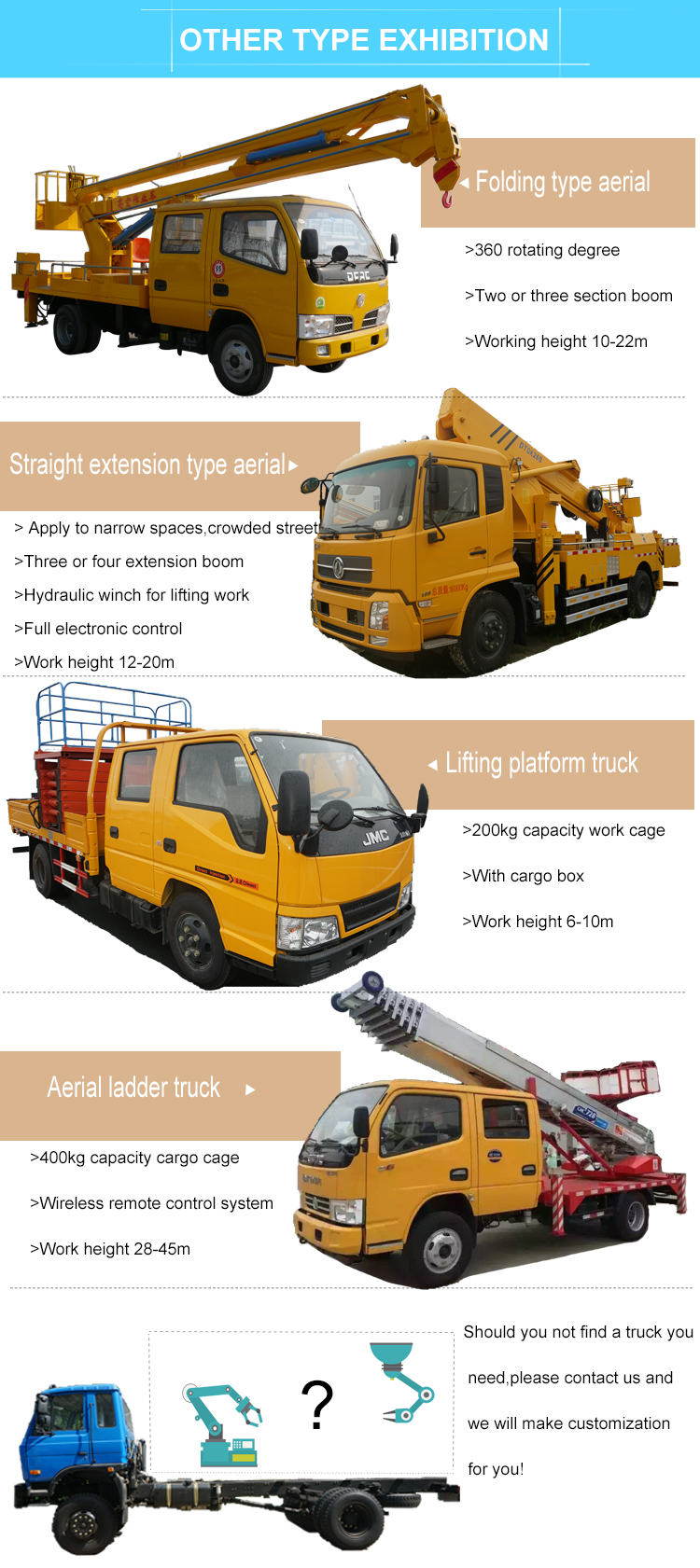 High quality 18m hydraulic jack lift Aerial Working Truck for sales