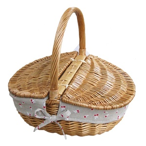 YM-135101cheap empty bulk oval wicker picnic basket with lid and handle
