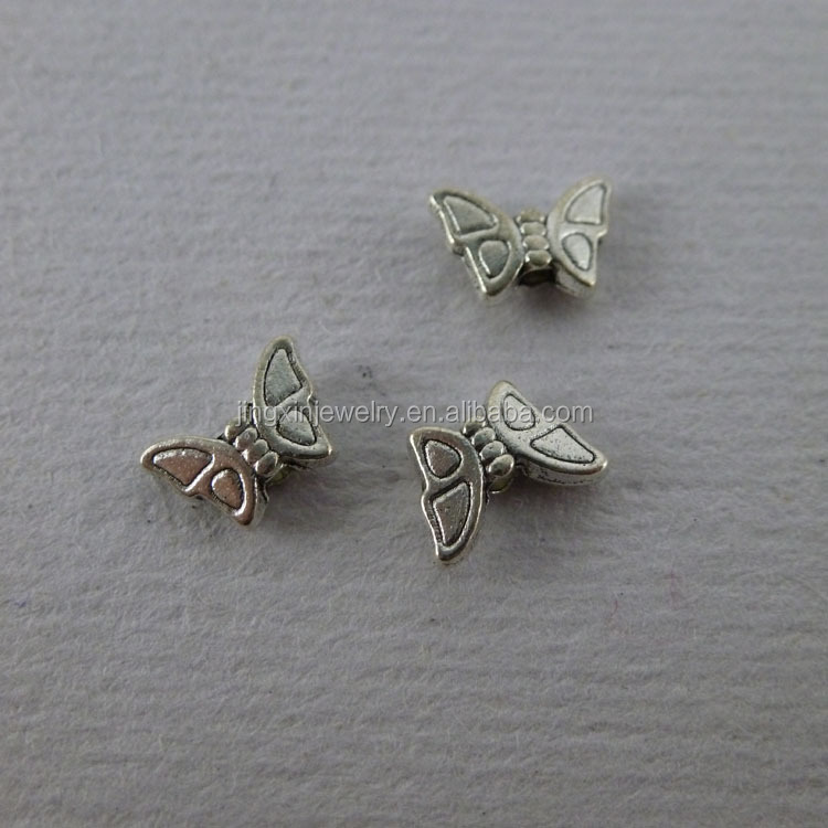 mini alloy butterfly beads antique silver plating 8*5mm hole 1mm