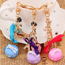 Novelty Charms Cake Macarons key chain rings metal eiffel tower keychain Fashion creative macaron bag key