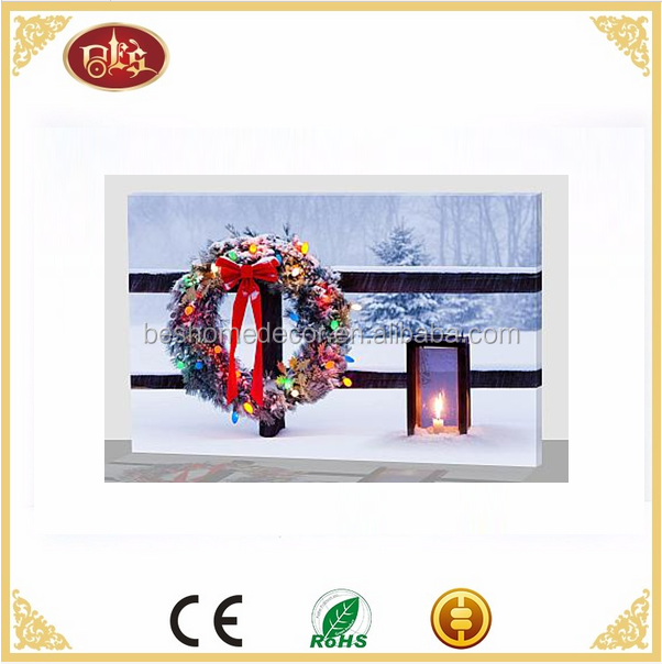 snow scene Christmas wreath lantern LED Christmas light up canvas art Led wall art
