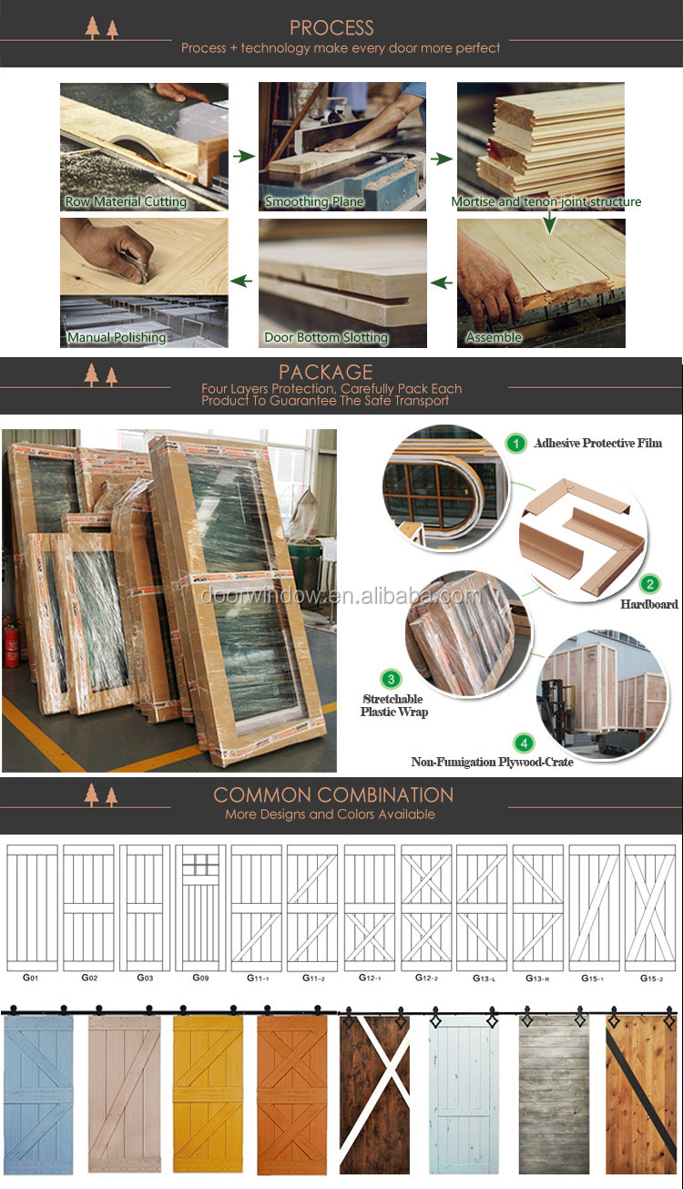 Movable plank panel wooden doors design catalogue surface stained sliding barn door for partition
