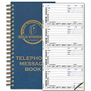 Rediform Products - Rediform - Wirebound Message Book, 2-3/4 x 5, 2-Part Carbonless, 600 Sets/Book - Sold As 1 Each - Twin-wire binding allows book to lie flat when open. - Extra-thick backer increases writing stability. - Attached page protector flap prevents write-through onto other forms.