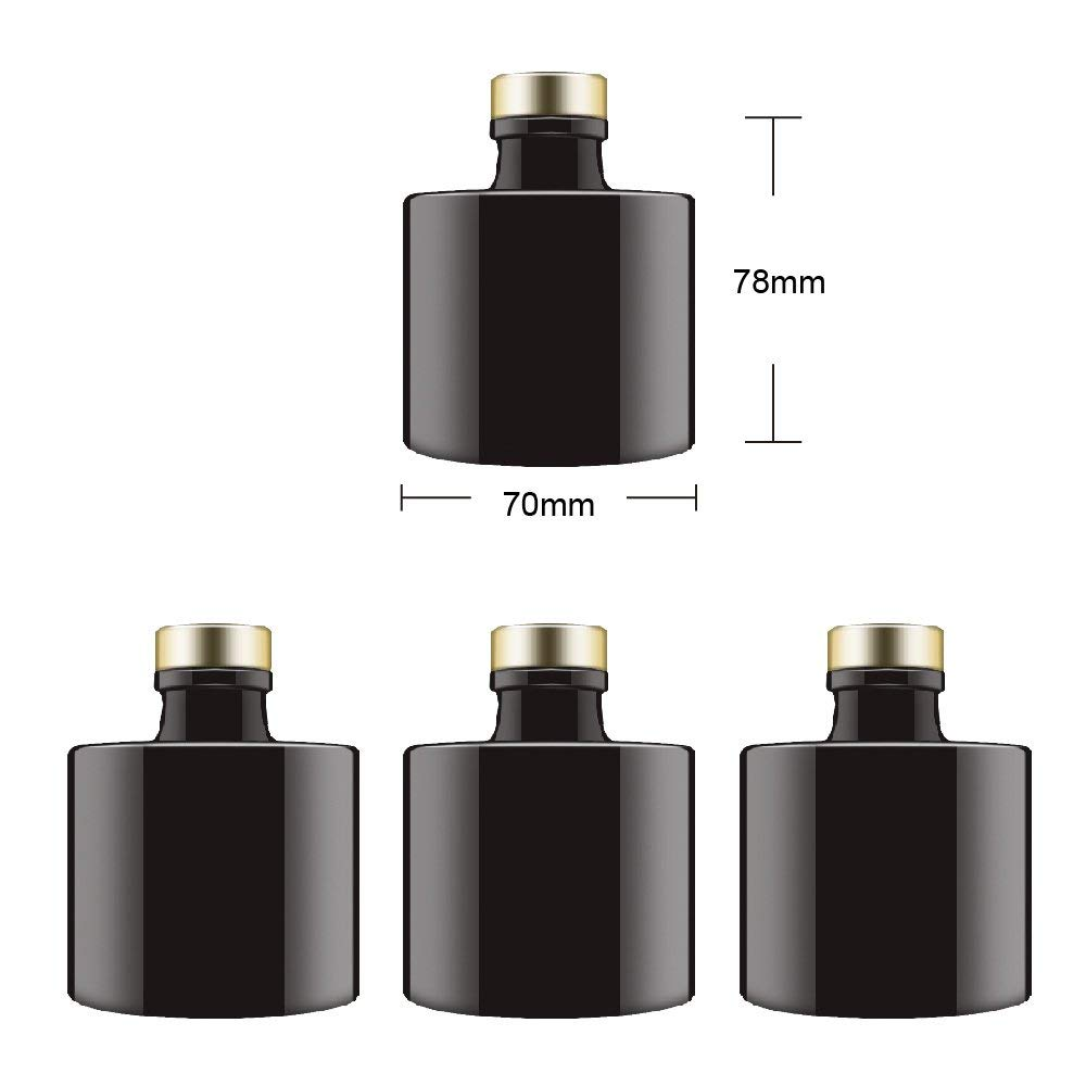 Feel Fragrance Black Glass Diffuser Bottles Round Diffuser Jars with Gold Caps Set of 4 – 2.95 inches High, 100ml 3.4ounce. Fragrance Accessories Use for DIY Replacement Reed Diffuser Sets.