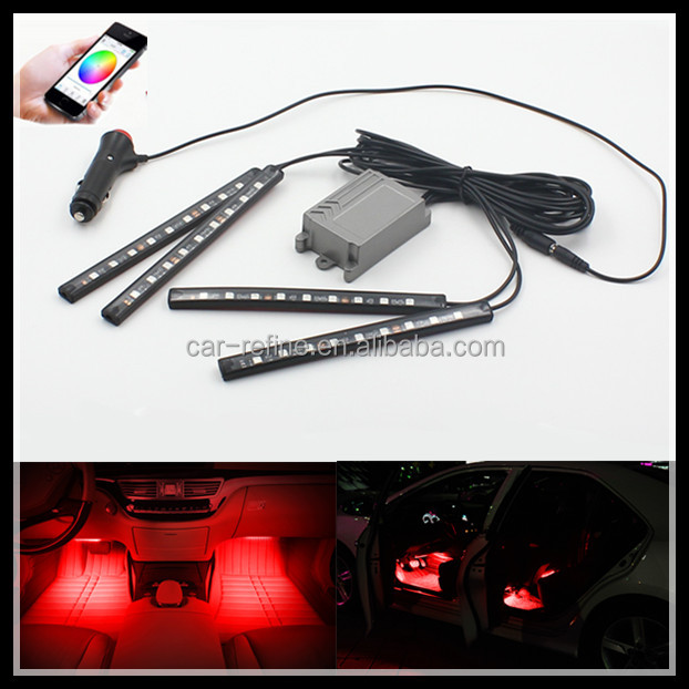 4x12 LED Atmosphere Light Car SUV Interior Footwell Neon 12V App controlled Atmosphere Decorative RGB Light Strips