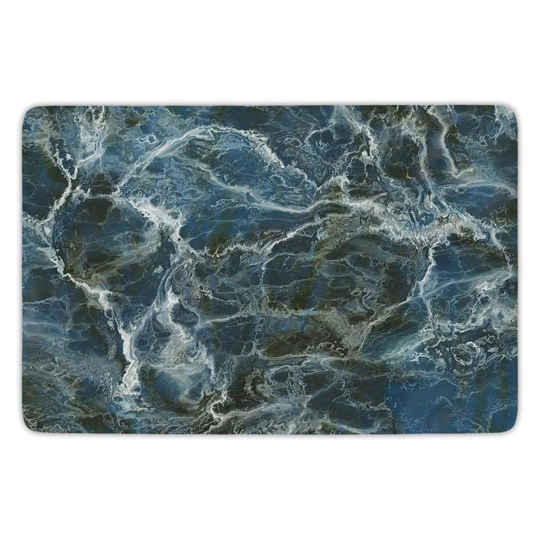 Bathroom Bath Rug Kitchen Floor Mat Carpet,Marble,Surface Motif with Large Formless Crack Lines and Granite Rock Abstract Design Decorative,Slate Blue Grey,Flannel Microfiber Non-slip Soft Absorbent