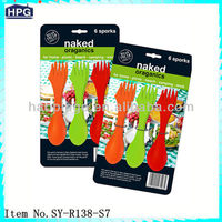 Reusable plastic flatware reusable spork plastic cutlery set
