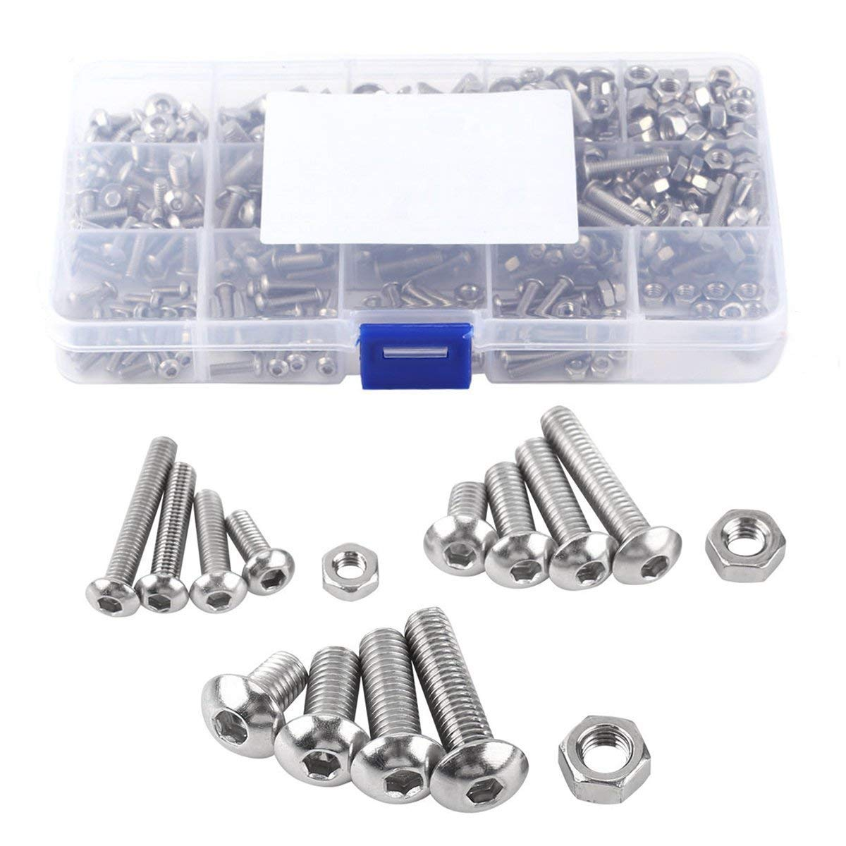 Screw and Nut Kit, COOLOGIN 500Pcs M3 M4 M5 Stainless Steel Button Head Hex Socket Head Cap Bolts Screws with Nuts Assortment Kit