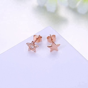 Wholesale 925 sterling silver jewelry star shape small ear studs white CZ main stone rose gold plated ladies earrings