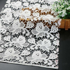 Hot selling fashion design chemical lace water soluble milky embroidery fabric