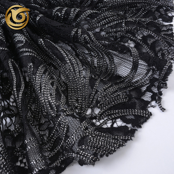 Classic design fashion black lace tape embroidery fabric for party dress
