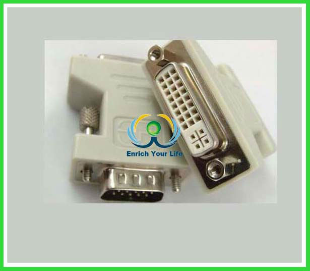 dvi to vga connector/24+1 Pin M DVI-D to 15 Pin VGA F Adapter Conve for HDTV