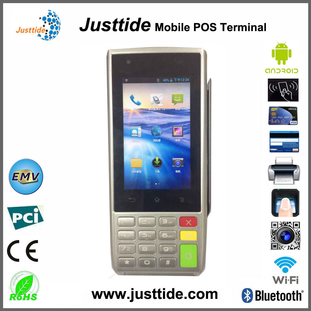 Justtide Factory Price Smart Android POS Terminal, 3G POS Terminal, Handheld POS Terminal