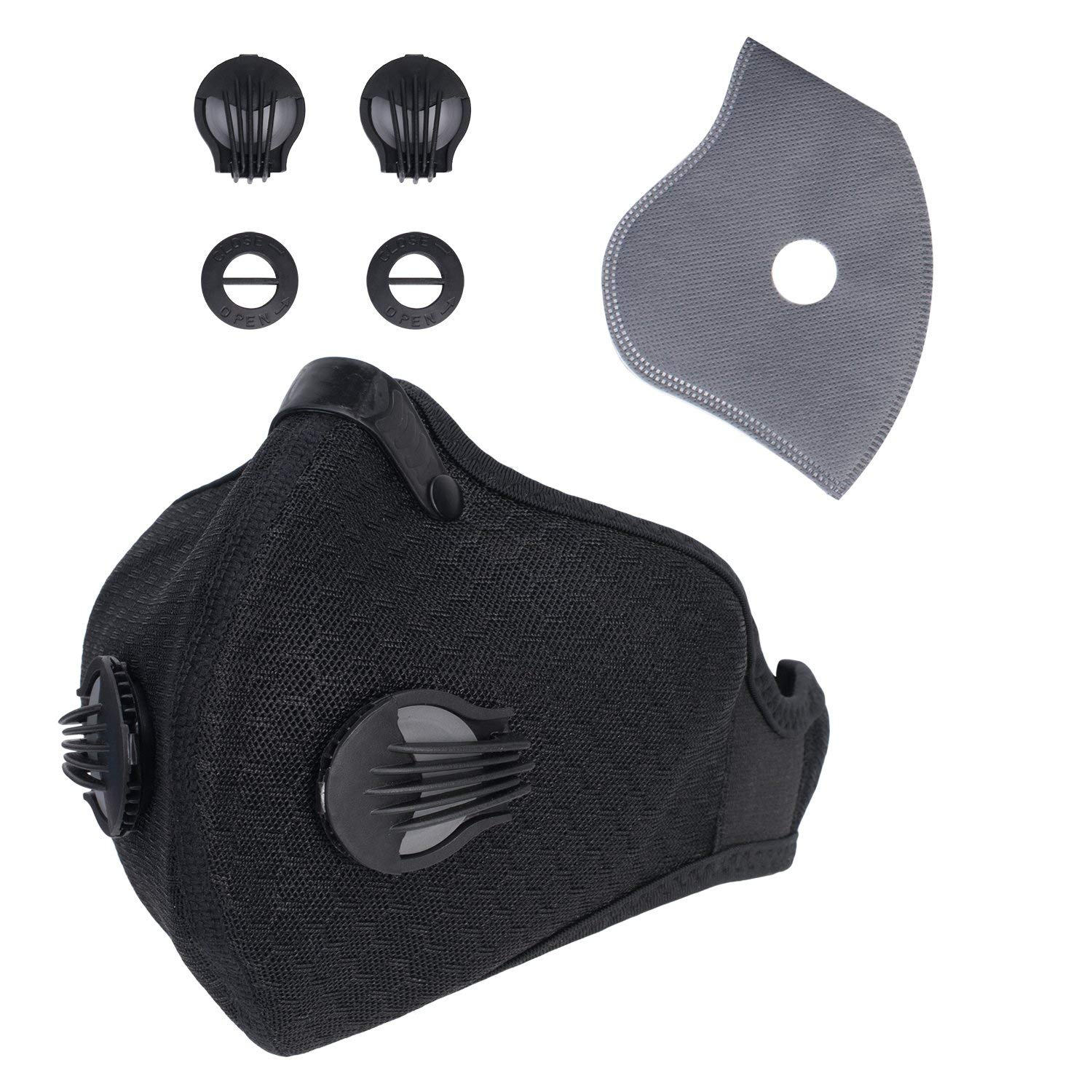 Dustproof Mask Activated Carbon Dust Filer Masks Air Filtration Safety Mesh Face Mask for Pollen Allergy, PM2.5, Running, Cycling, Ski,Mowing,Outdoor Activities with Bonus Cotton Filter & Valves