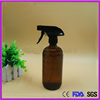 16oz amber color glass bottle with sprayer,500ml chemical glass bottle with plastic lid