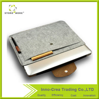 Felt Environmental Light Grey Sleeve Bag Carrying Case with Button Closure for Apple Macbook