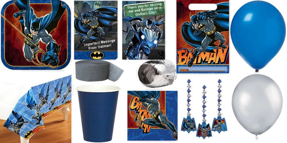 Batman Party Supplies for 16 Includes Invitations, Table Cover, Cups, Napkins, Plates, Treat Bags, Decorations, Thank You Postcards, Curling Ribbon, Streamer, and Balloons - Bundle Includes 136 Items